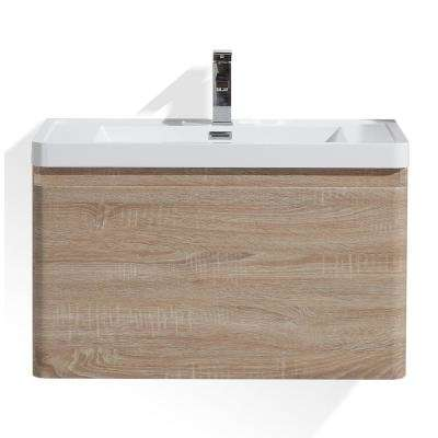 Happy 32 in. W Bath Vanity in White Oak with Reinforced Acrylic Vanity Top in White with White Basin