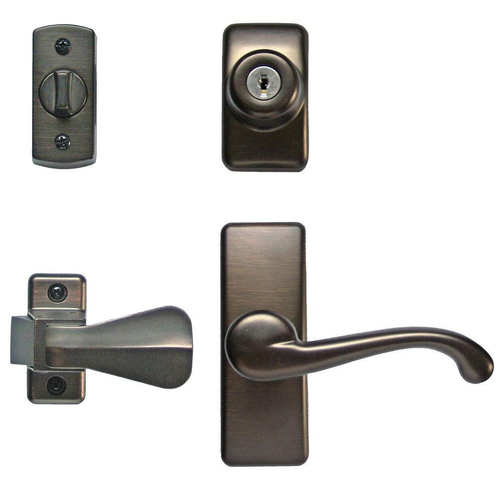 security screen door locks. ideal security deluxe storm and screen door lever handle keyed deadlock in oilrubbed bronzehk01iorb the home depot locks