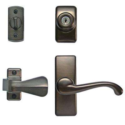 Deluxe Storm And Screen Door Lever Handle And Keyed Deadlock In Oil Rubbed  Bronze