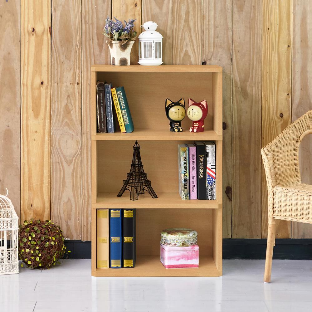 Trinity 3-Shelf Natural Eco zBoard Tool-Free Assembly Bookcase Storage Organizer