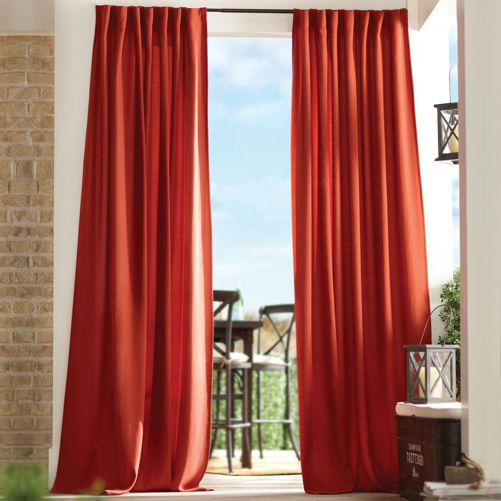 Home Decorators Collection Semi Opaque Chili Red Outdoor Back Tab Curtain 1624460 The Home Depot