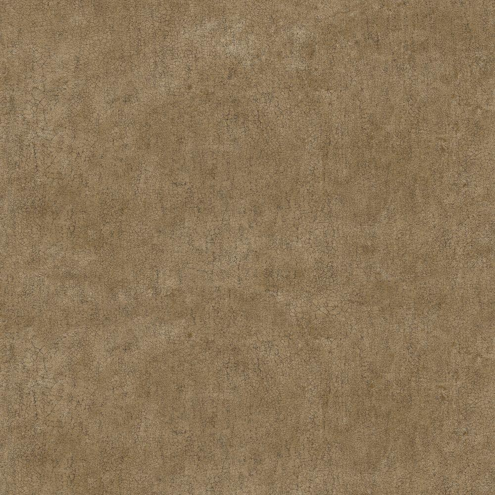 The Wallpaper Company 56 sq. ft. Brown Crackle Faux Texture Wallpaper