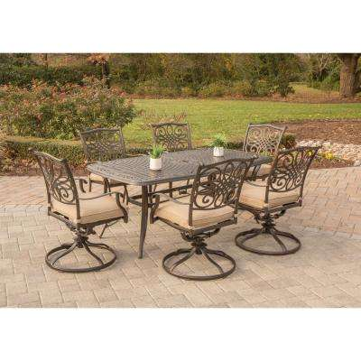 Traditions 7-Piece Aluminum Outdoor Dining Set with 6 Swivel Dining Chairs and Natural Oat Cushions