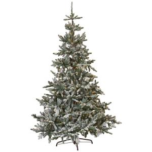 String Lights Christmas Tree Martha Stewart : Martha Stewart Living 7.5 ft. Indoor Pre-Lit Snowy Norwegian Spruce Artificial Christmas Tree ...