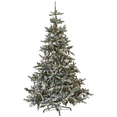 7.5 ft. Indoor Pre-Lit Snowy Norwegian Spruce Artificial Christmas Tree with Clear Lights