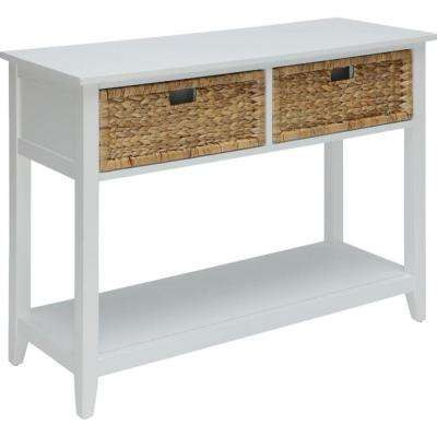 Amelia 28 in. White Solid Wood Leg Console Table