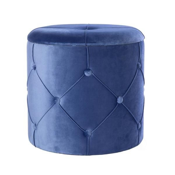 15.5 in. H Blue Round Wooden Velvet Ottoman Stool with Lid