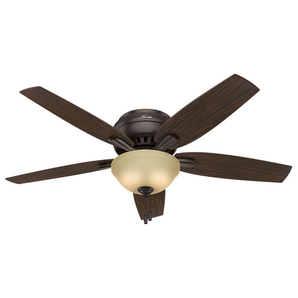 Hunter Newsome 52 in. Indoor Premier Bronze Bowl Light Kit Low-Profile Ceiling Fan Bundled with Handheld Remote Control
