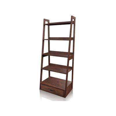 Calitri Brown Cherry 5-Tier Ladder Bookcase With Drawer
