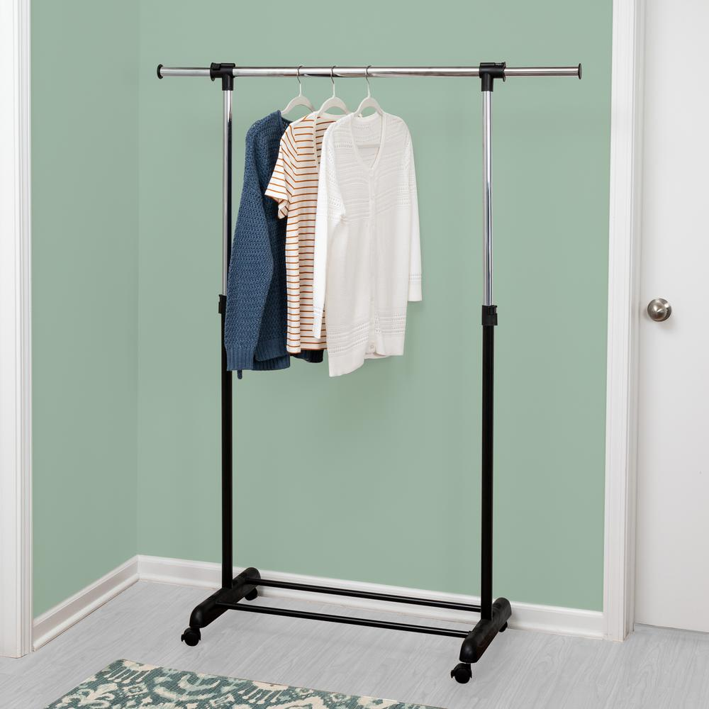 """Half Round Clothing Rack Pipeline Collection Chrome Garment Adjustable 52 72/"""" H"""