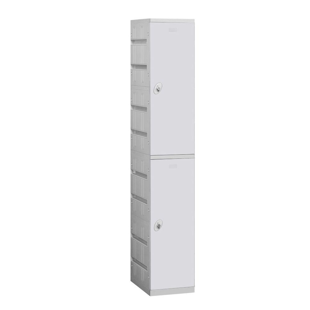Salsbury Industries 92000 Series 12.75 in. W x 74 in. H x 18 in. D 2-Tier Plastic Lockers Unassembled in Gray