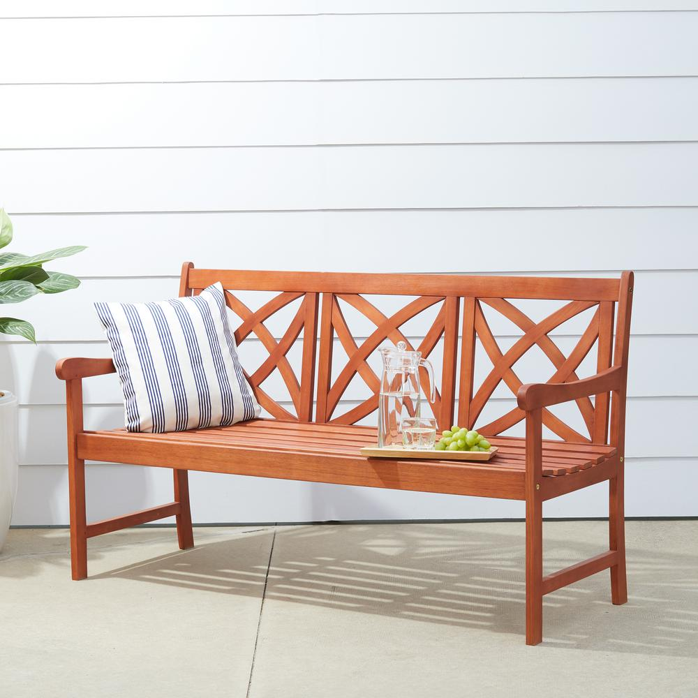 Vifah Malibu 3-Person Wood Outdoor Bench