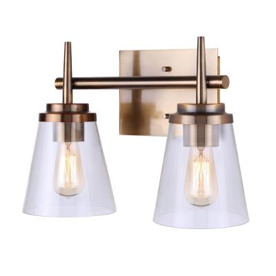 Perla 14.75 in. 2-Light Gold Vanity Light with Clear Glass Shade