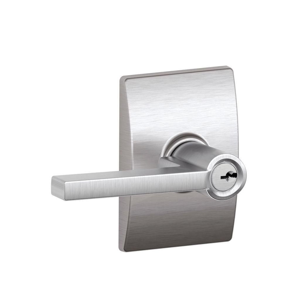 Custom Latitude Satin Chrome Keyed Entry Door Lever with Century Trim
