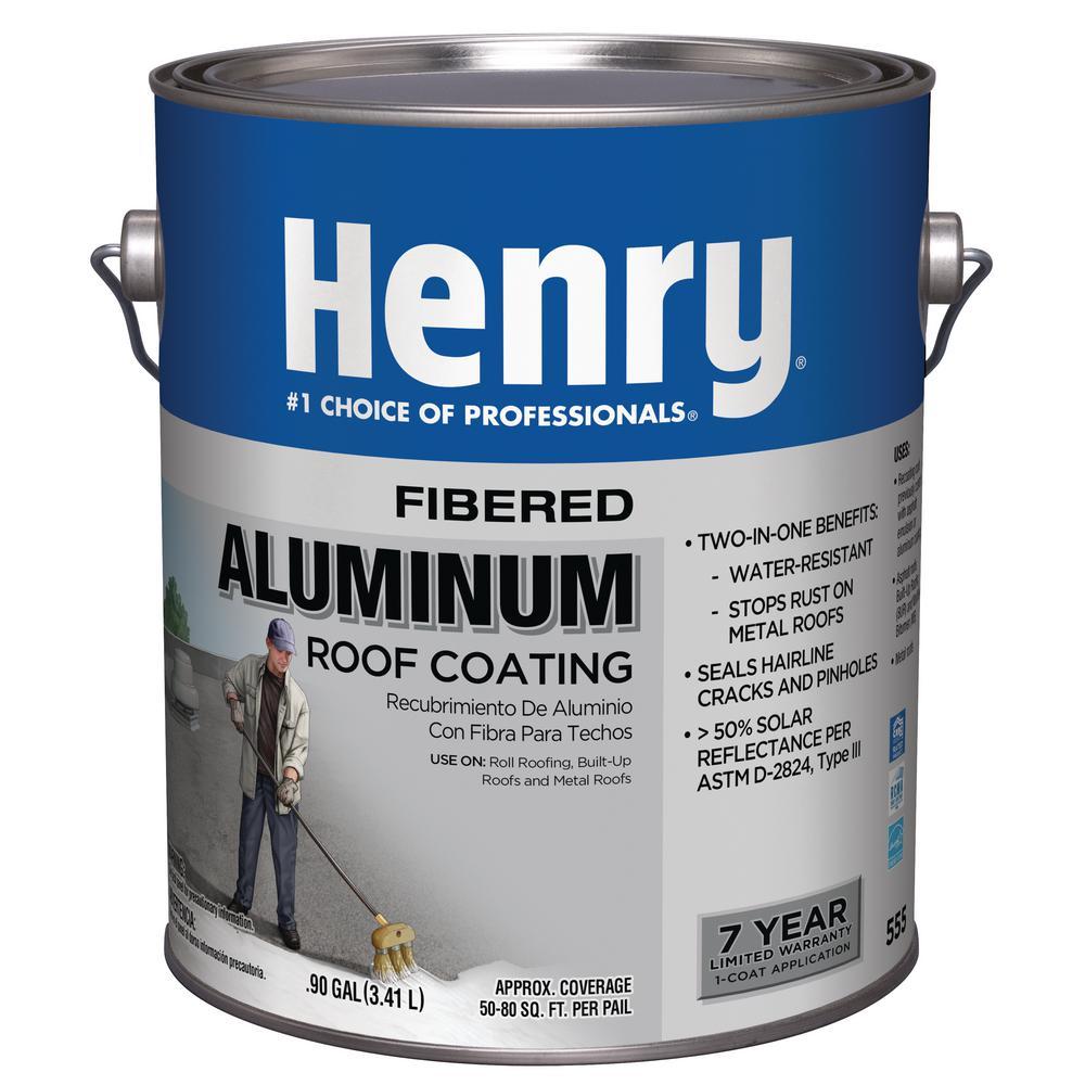 Henry 555 Premium Fibered Aluminum 0 90 Gal Reflective Roof Coating He555142 The Home Depot