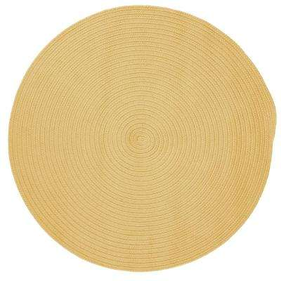 Trends Soft Yellow 8 ft. x 8 ft. Braided Round Area Rug