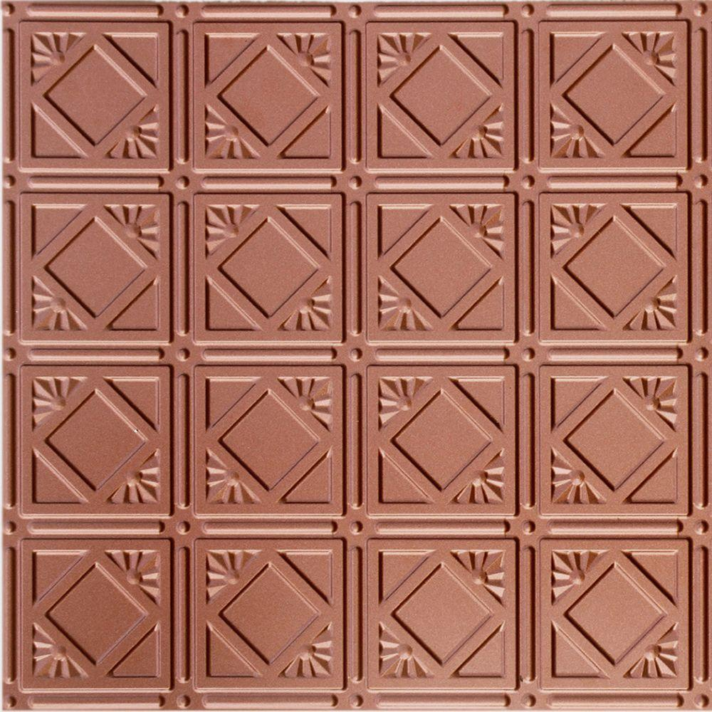 Dimensions 2 ft. x 2 ft. Copper Lay-in Ceiling Tin Tile