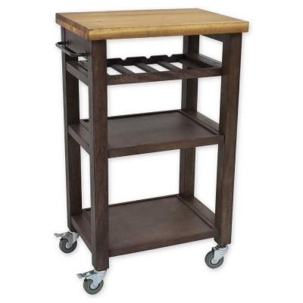 Belden Gray Kitchen Cart with Wine Rack