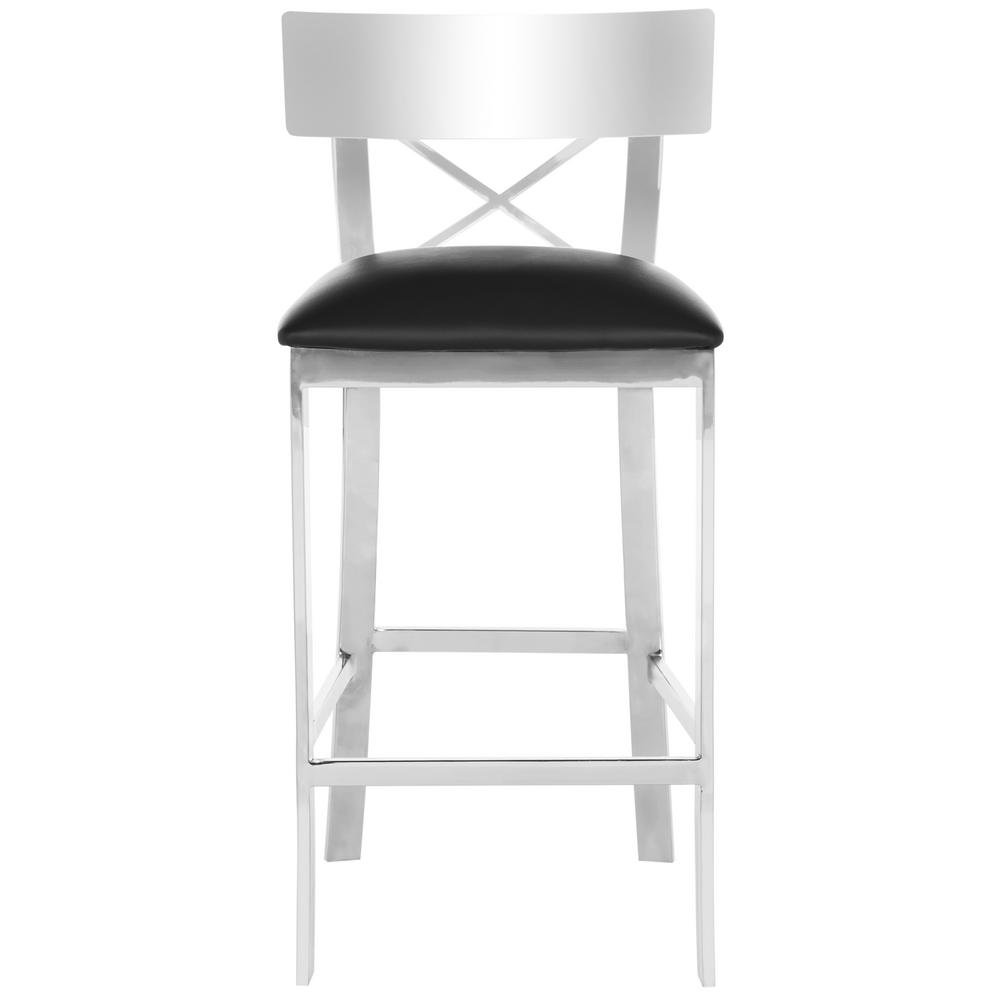 safavieh zoey 26 5 in stainless steel cross back counter stool in black fox2035a the home depot. Black Bedroom Furniture Sets. Home Design Ideas