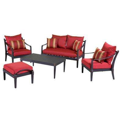 Astoria 5-Piece Patio Seating Set with Cantina Red Cushions
