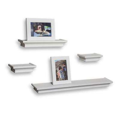 Contempo 24 in. W x 1.5 in. H White MDF Cornice Ledge Shelves (Set of 4) with 2 Photo Frames