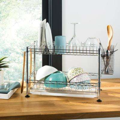 Brooklyn 24 in. Chrome Adjustable Dish Rack