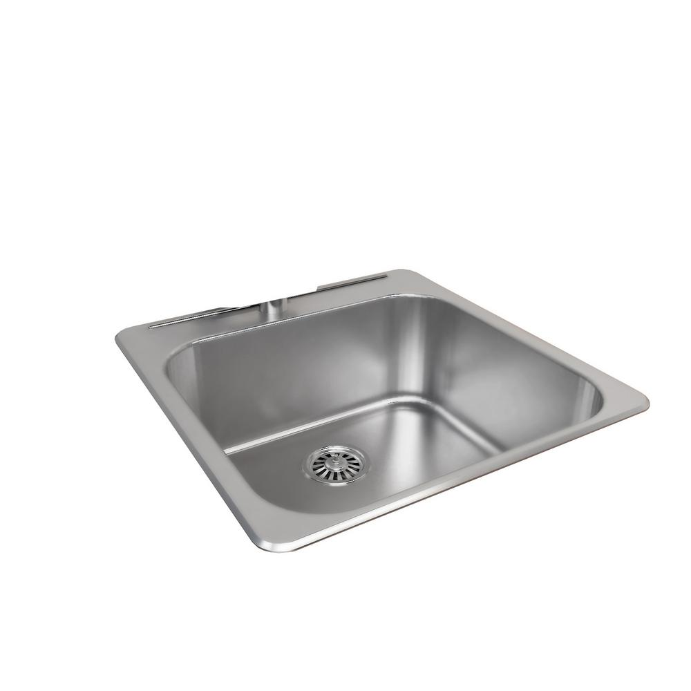 cantrio drop in stainless steel 21 in  1 hole single bowl kitchen sink kss 2020   the home depot cantrio drop in stainless steel 21 in  1 hole single bowl kitchen      rh   homedepot com