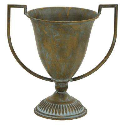 17.25 in. Gold Metal Trophy Decorative Vase