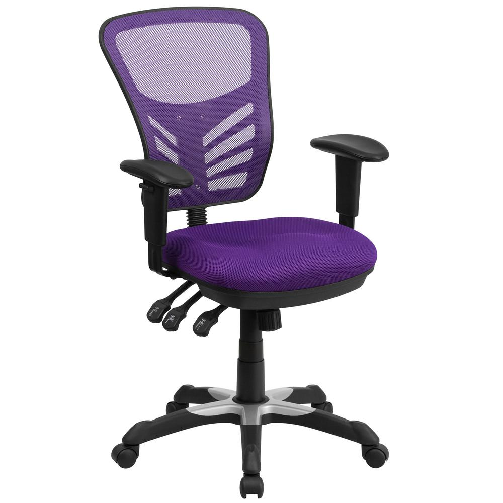 Ordinaire Flash Furniture Mid Back Purple Mesh Swivel Task Chair With Triple Paddle  Control