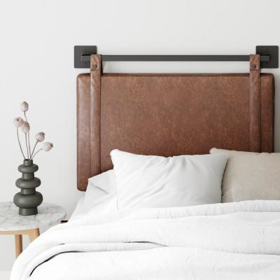 Harlow 36 in. Vintage Brown PU Leather with Adjustable Straps and Black Metal Rail Twin Wall Mount Upholstered Headboard