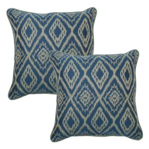 Hampton Bay 18 inch Ikat Spa Outdoor Toss Pillow with Welt (2-Pack) by Hampton Bay