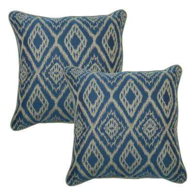 18 in. Ikat Spa Outdoor Toss Pillow with Welt (2-Pack)
