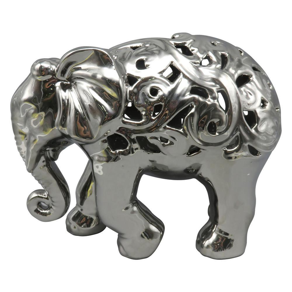 9 in. Ceramic Pierced Elephant in Silver