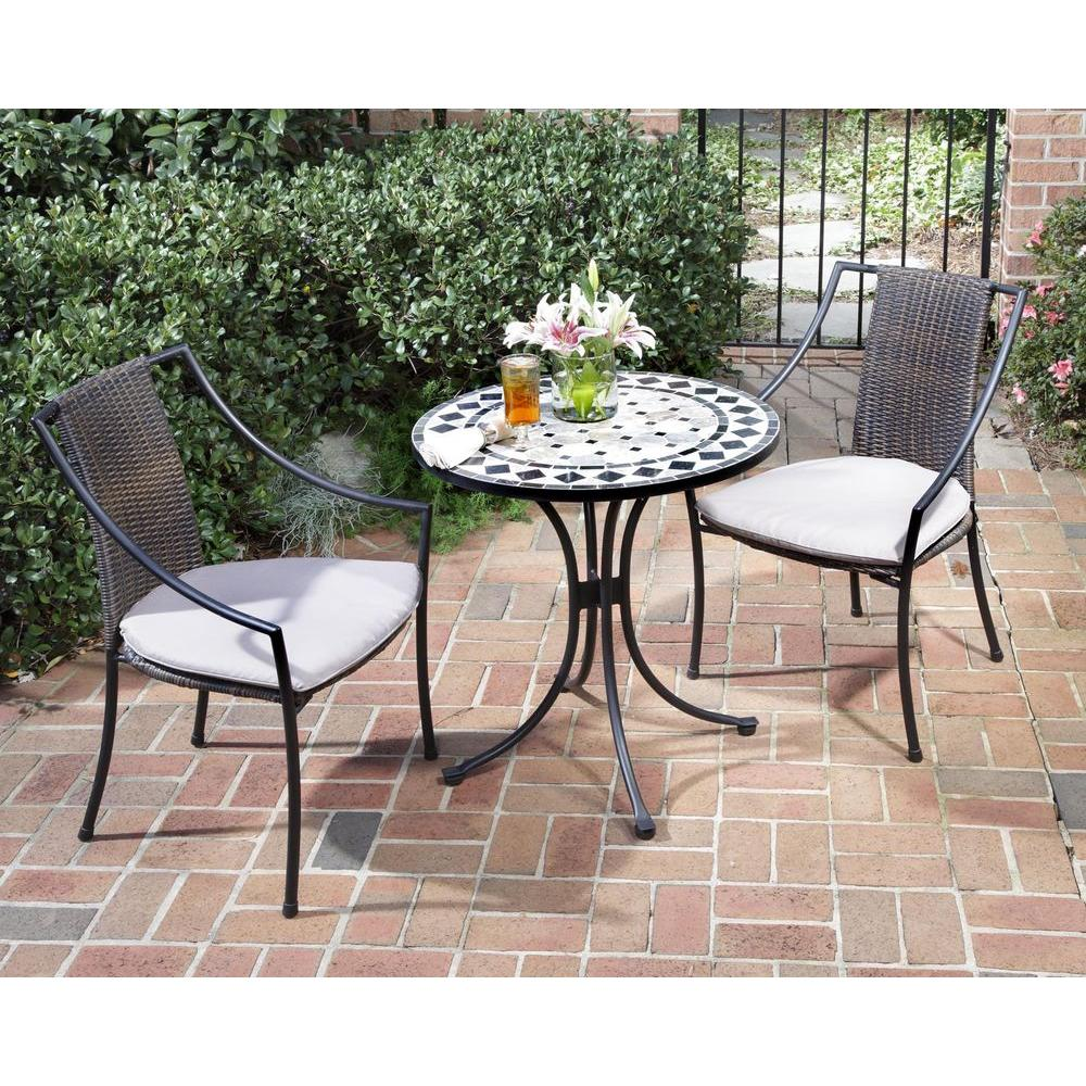 HOMESTYLES Black and Tan 3-Piece Tile Top Patio Bistro Set with Taupe  Cushions