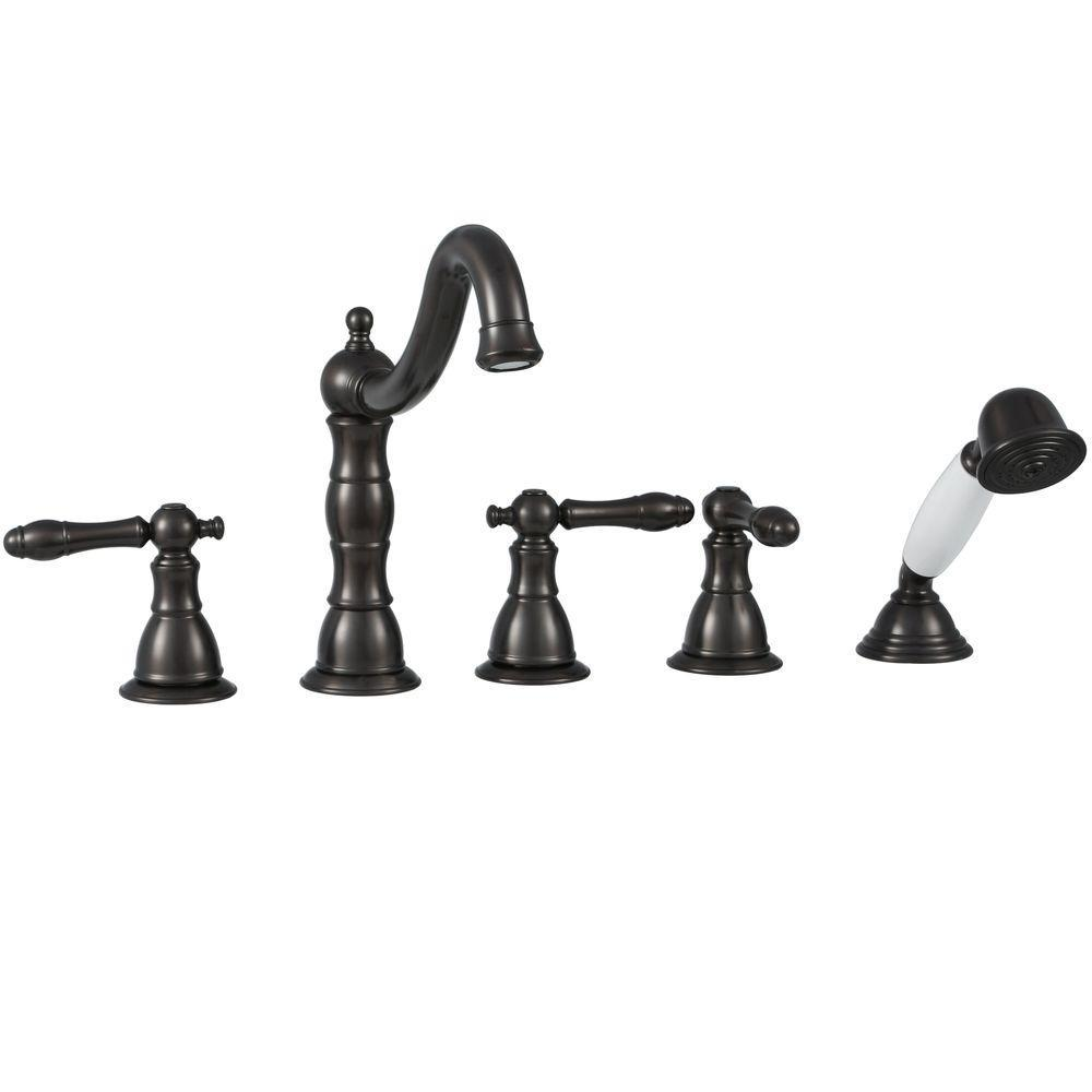 Lyndhurst 2-Handle Deck-Mount Roman Tub Faucet with Handheld Shower in Oil