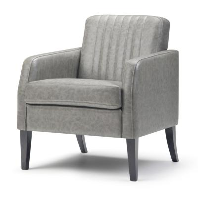 Crawford 28 in. Wide Contemporary Accent Chair in Distressed Taupe Faux Leather