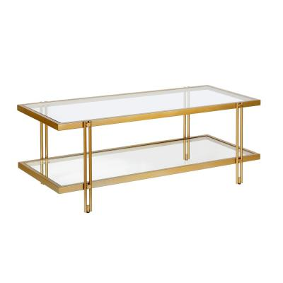 Inez 45 in. Brass/Clear Large Rectangle Glass Coffee Table with Shelf
