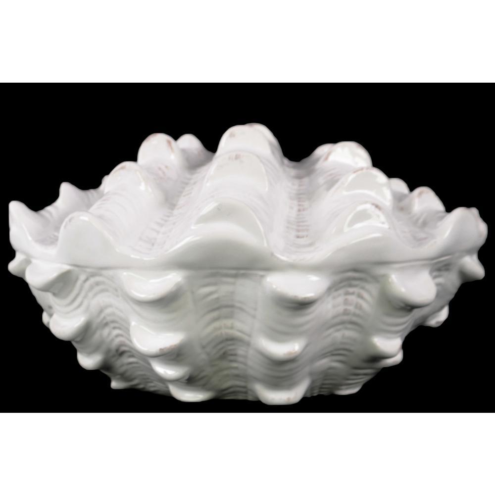 3.75 in. H Seashell Decorative Figurine in White Gloss Finish