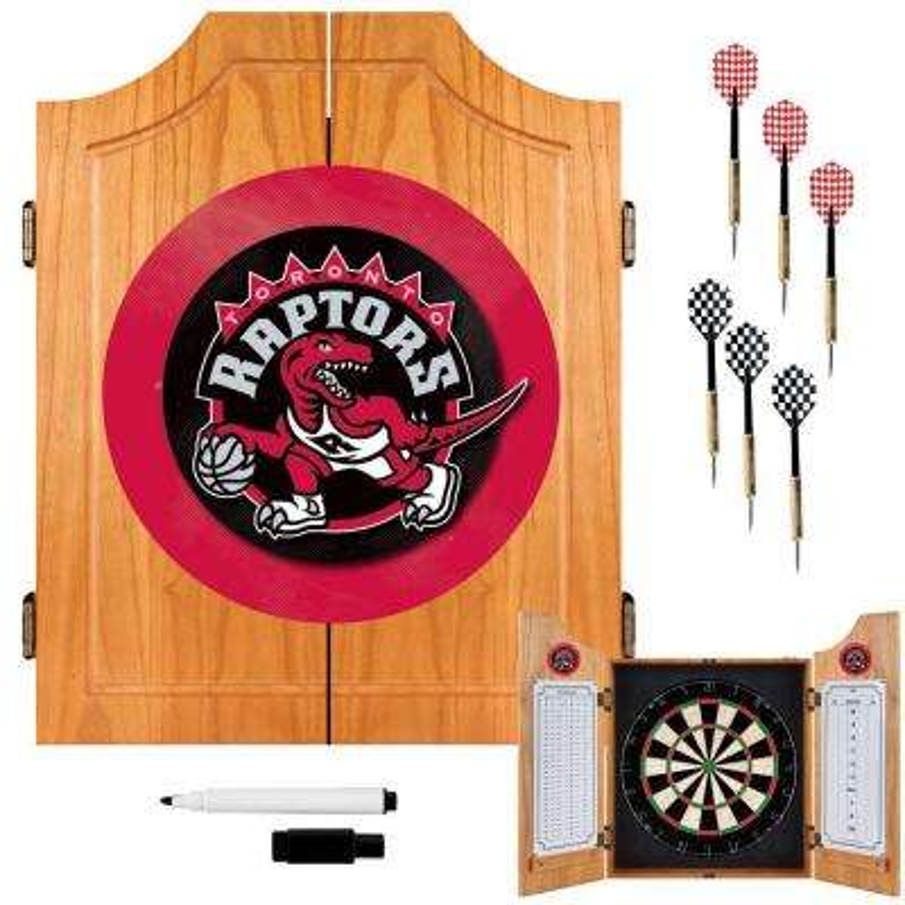 NBA Toronto Raptors Wood Finish Dart Cabinet Set