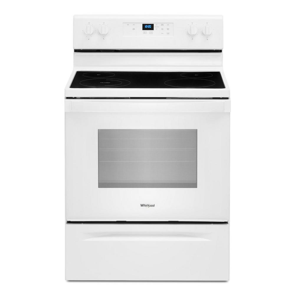Whirlpool 30 in. 5.3 cu. ft. 4-Burner Electric Range in White with Storage Drawer