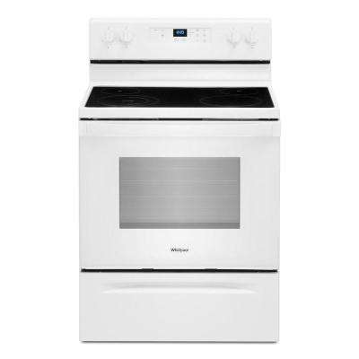30 in. 5.3 cu. ft. 4-Burner Electric Range in White with Storage Drawer