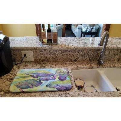 14 in. x 21 in. Multicolor Manatee Dish Drying Mat