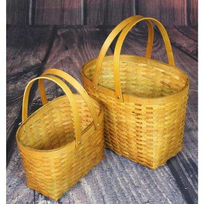13 in. W x 10.3 in. D x 10 in. H Wood Chip Oval Shopping Baskets (Set of 2)
