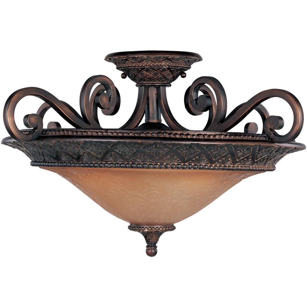 Symphony 3-Light Oil-Rubbed Bronze Semi-Flush Mount Light