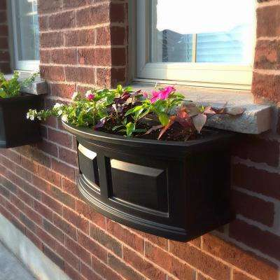 2 ft. Nantucket Black Plastic Window Box
