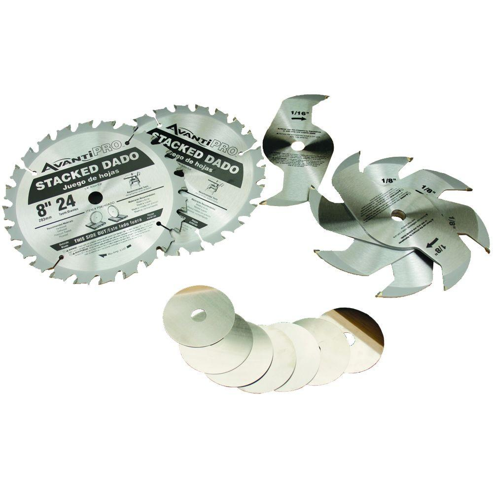 Avanti Pro 8 in. x 24-Tooth Stacked Dado Saw Blade Set
