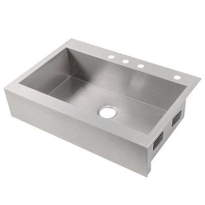 Vault Drop-in Farmhouse Apron-Front Stainless Steel 36 in. 4-Hole Single Bowl Kitchen Sink