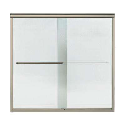 Finesse 59-1/4 in. x 58-3/4 in. Semi-Framed Sliding Tub/Shower Door in Nickel with Handle