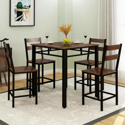5-Piece Counter Height Dining Set with Sturdy Metal Frame
