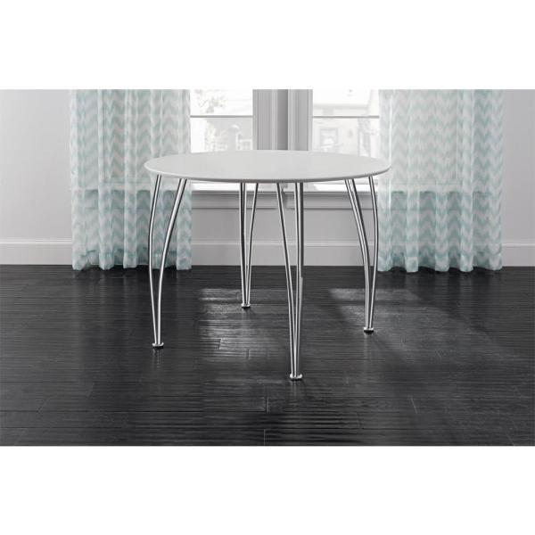 Round White Dining Table With Chrome Legs